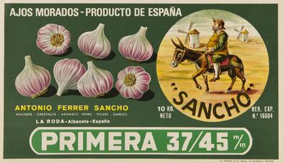 Sancho [Material gráfico]: ajos morados - producto de España : primera 37/45 : :Antonio Ferrer Sancho: Walnuts - chestnust - aromatic hebs - pulses - garlics : La Roda - Albacete - España.