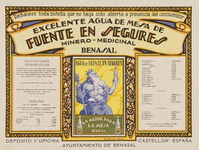 Excelente agua de mesa de Fuente en Segures [Material gráfico]: minero medicinal : Benasal.