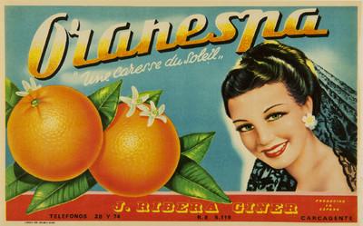 Oranespa [Material gráfico]: Une caresse du soleil : J. Ribera Giner : producido en España : R. E. 5.119 : Carcagente.