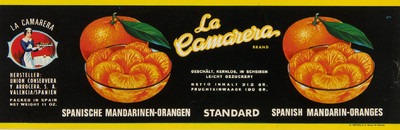 La Camarera [Material gráfico]: brand ... : Spanishe Mandarinen-Orangen standard Spanish mandarin-oranges.