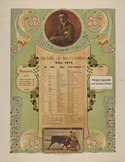 Diego Mazquiarán Fortuna [Material gráfico]: Detalle de las corridas año 1918.