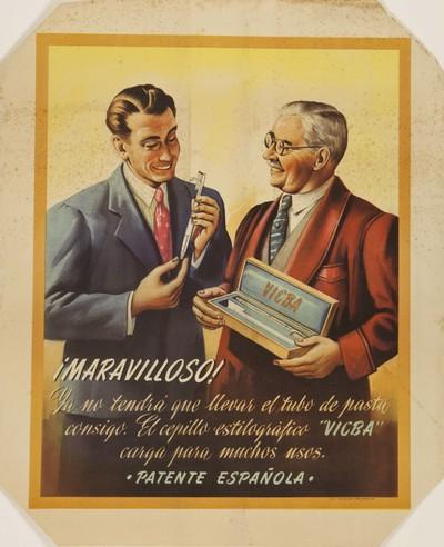 ¡Maravilloso! Ya no tendrá que llevar el tubo de pasta consigo [Material gráfico]: El cepillo estilográfico Vicba carga para muchos usos : Patente española.