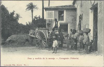 Peso y medida de la naranja [Material gráfico]: Carcagente (Valencia).