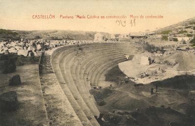 Pantano María Cristina en construcción [Material gráfico]: Muro de contención : Castellón.