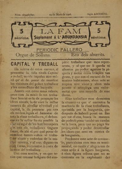 La Fam [Texto impreso] : suplement a L'Abundansia : periodic fallero