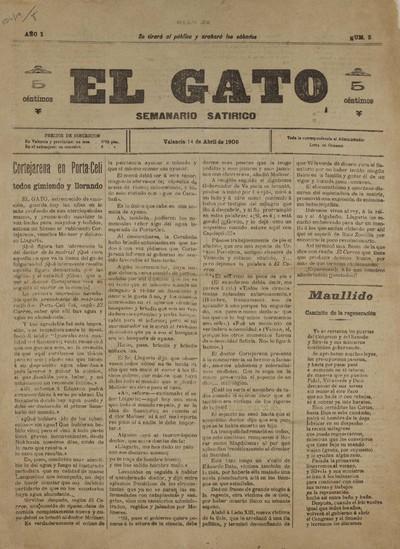 El Gato [Texto impreso] : semanario satírico
