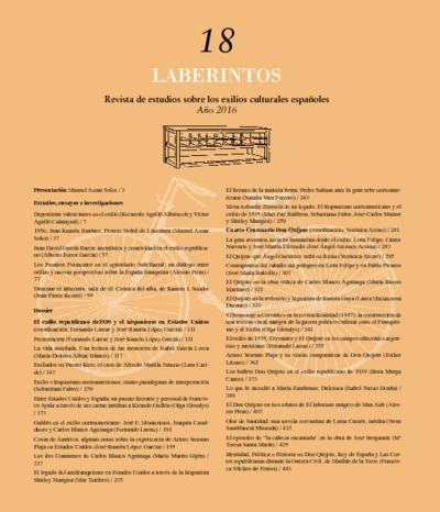 Laberintos : anuario de estudios sobre los exilios: Número 18 - Año 2016