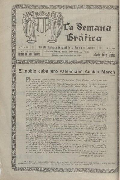 La Semana gráfica [Texto impreso]: revista ilustrada semanal de la región de Levante.