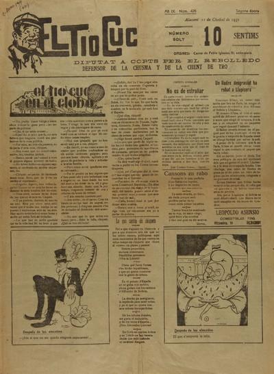 El Tío Cuc [Texto impreso] : diputat a Corts per el Rebolledo, defensor de la chusma y de la chent de tro