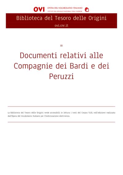 Documenti relativi alle Compagnie dei Bardi e dei Peruzzi