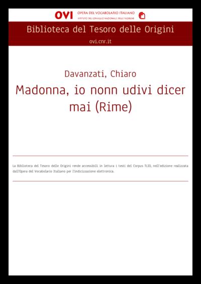 Madonna, io nonn udivi dicer mai (Rime)