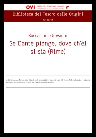 Se Dante piange, dove ch'el si sia (Rime)