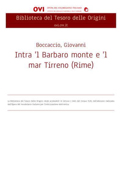 Intra 'l Barbaro monte e 'l mar Tirreno (Rime)