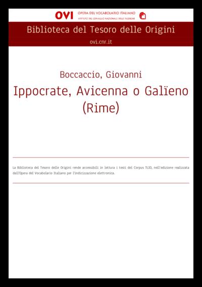 Ippocrate, Avicenna o Galïeno (Rime)