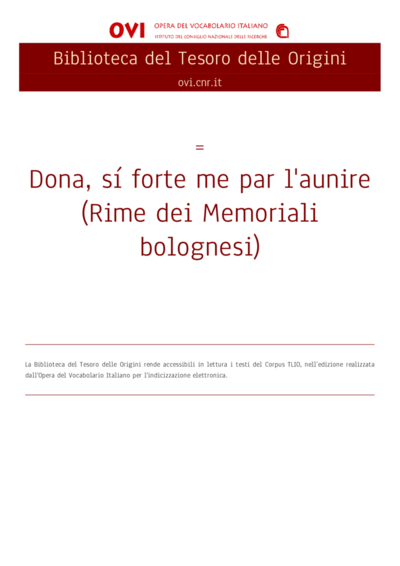 Dona, sí forte me par l'aunire (Rime dei Memoriali bolognesi)