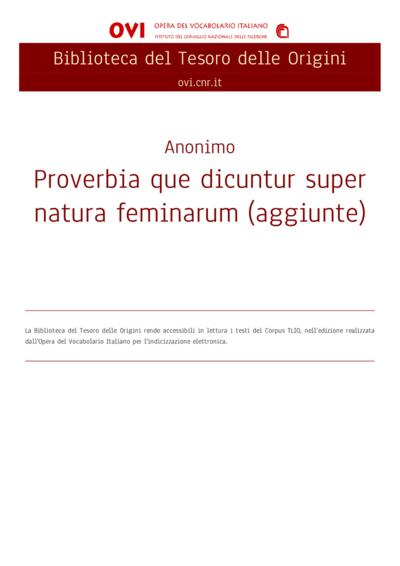 Proverbia que dicuntur super natura feminarum (aggiunte)