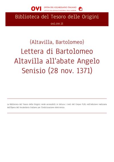 Lettera di Bartolomeo Altavilla all'abate Angelo Senisio (28 nov. 1371)