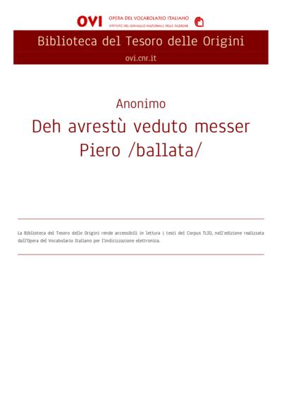 Deh avrestù veduto messer Piero /ballata/
