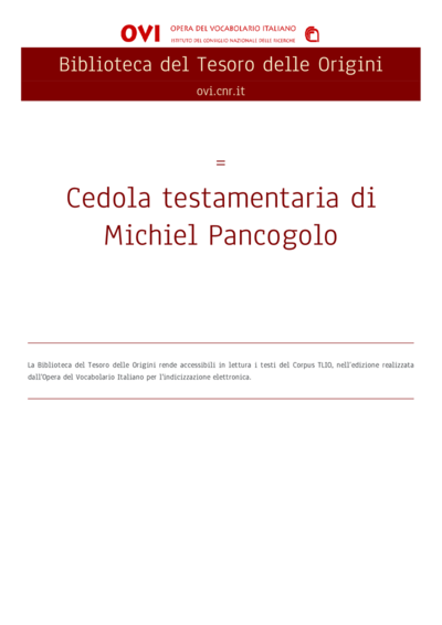 Cedola testamentaria di Michiel Pancogolo