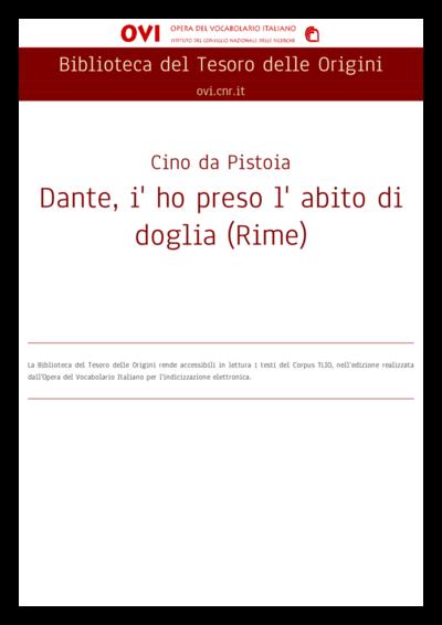 Dante, i' ho preso l' abito di doglia (Rime)