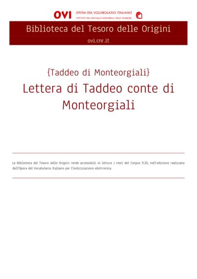 Lettera di Taddeo conte di Monteorgiali