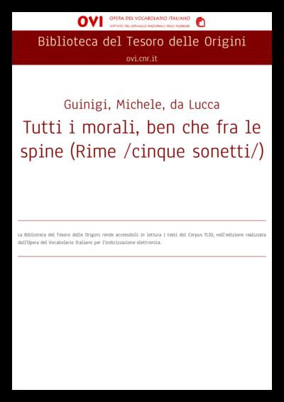 Tutti i morali, ben che fra le spine (Rime /cinque sonetti/)