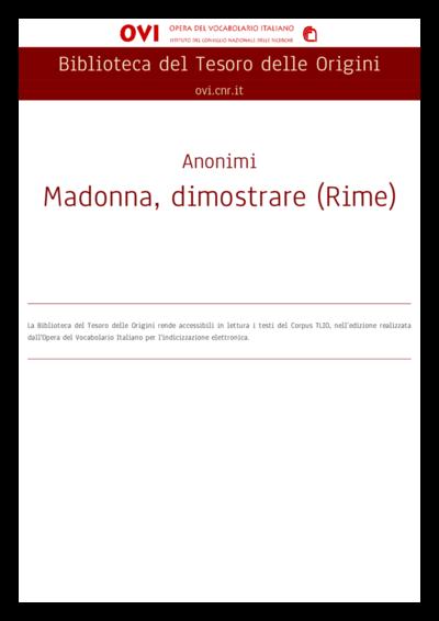 Madonna, dimostrare (Rime)