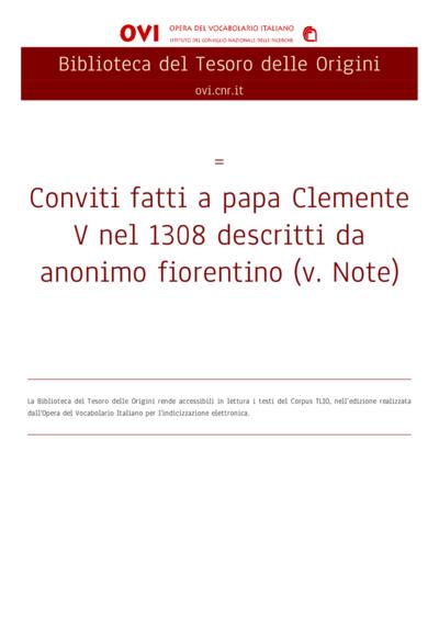 Conviti fatti a papa Clemente V nel 1308 descritti da anonimo fiorentino (v. Note)