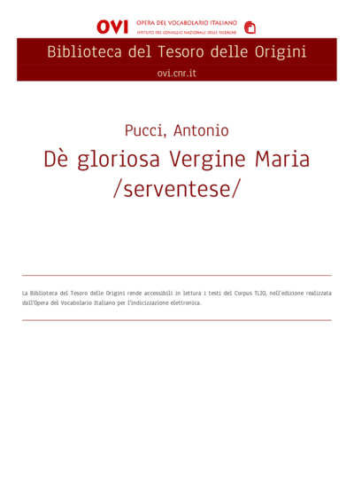 Dè gloriosa Vergine Maria /serventese/