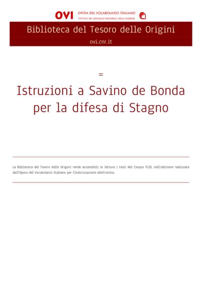 Istruzioni a Savino de Bonda per la difesa di Stagno