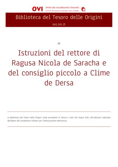 Istruzioni del rettore di Ragusa Nicola de Saracha e del consiglio piccolo a Clime de Dersa