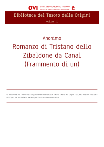 Romanzo di Tristano dello Zibaldone da Canal (Frammento di un)
