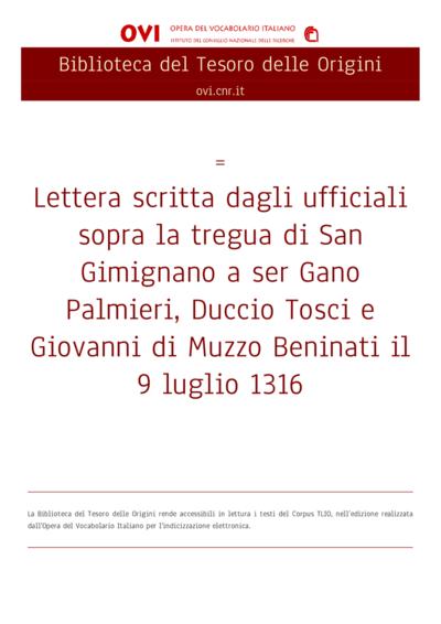 Lettera scritta dagli ufficiali sopra la tregua di San Gimignano a ser Gano Palmieri, Duccio Tosci e Giovanni di Muzzo Beninati il 9 luglio 1316