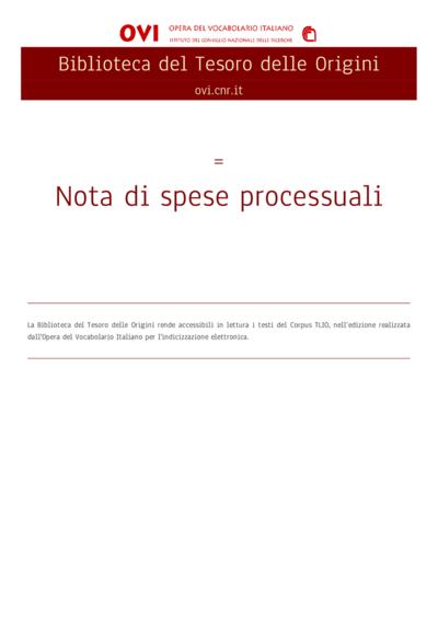 Nota di spese processuali