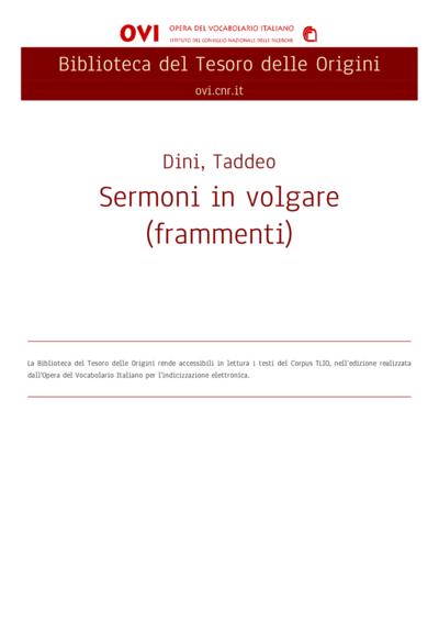 Sermoni in volgare (frammenti)