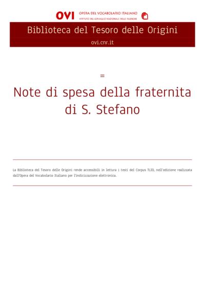 Note di spesa della fraternita di S. Stefano