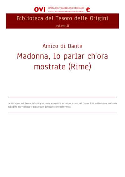 Madonna, lo parlar ch'ora mostrate (Rime)
