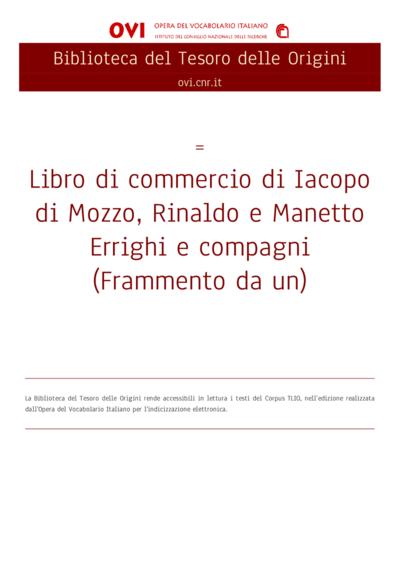 Libro di commercio di Iacopo di Mozzo, Rinaldo e Manetto Errighi e compagni (Frammento da un)