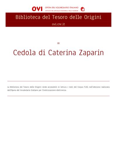 Cedola di Caterina Zaparin