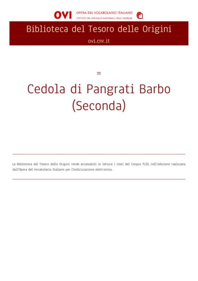 Cedola di Pangrati Barbo (Seconda)