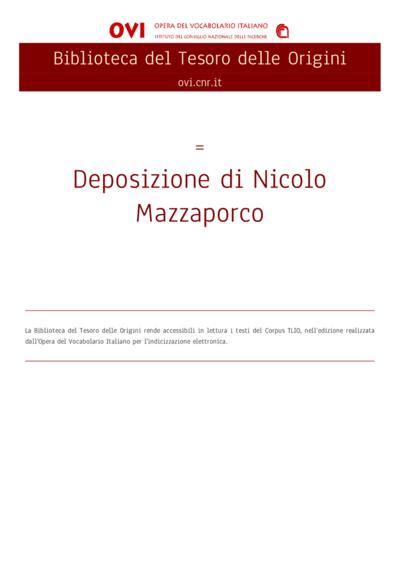 Deposizione di Nicolo Mazzaporco
