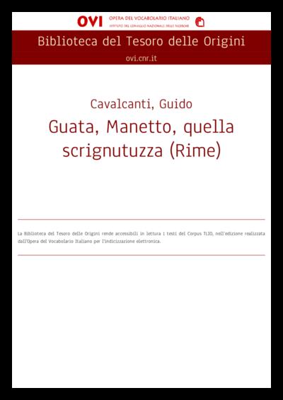 Guata, Manetto, quella scrignutuzza (Rime)