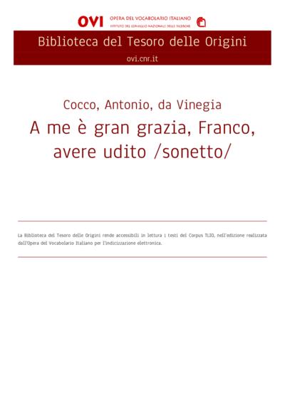 A me è gran grazia, Franco, avere udito /sonetto/