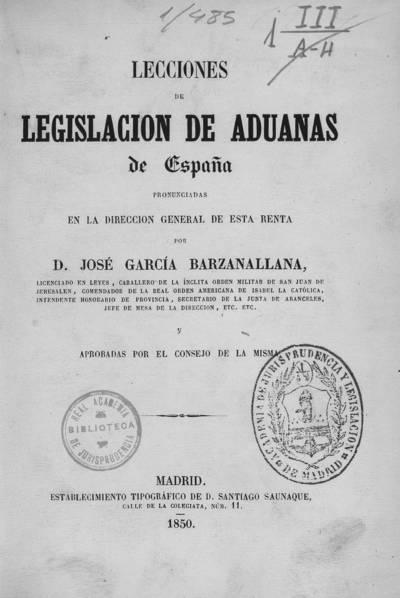 Lecciones de legislación de aduanas de España