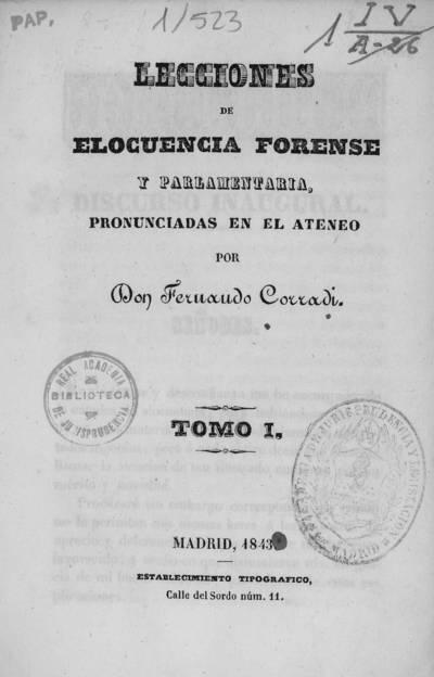 Lecciones de elocuencia forense y parlamentaria : pronunciadas en el Ateneo