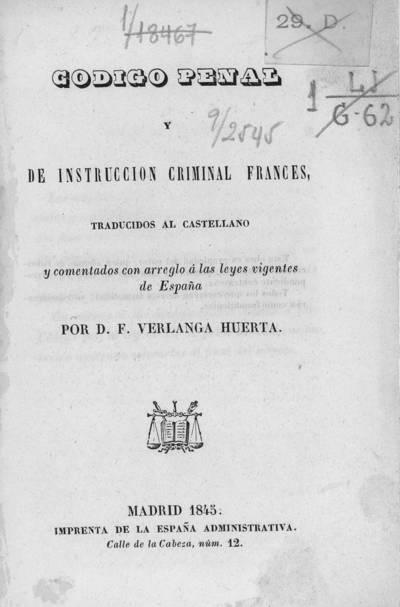 Código penal y de instrucción criminal francés