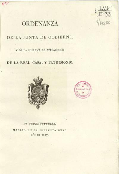 Ordenanza de la Junta de Gobierno y de la Suprema de Apelaciones de la Real Casa y Patrimonio