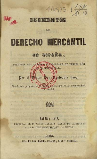 Elementos del derecho mercantil de España : formados con arreglo al programa de tercer año de jurisprudencia