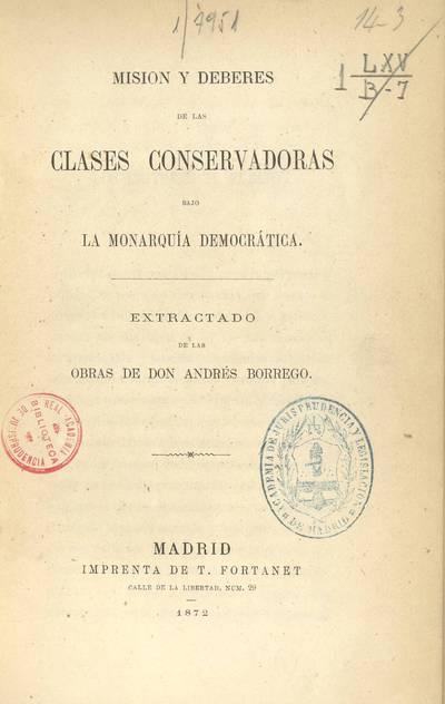 Misión y deberes de las clases conservadoras bajo la monarquía democrática