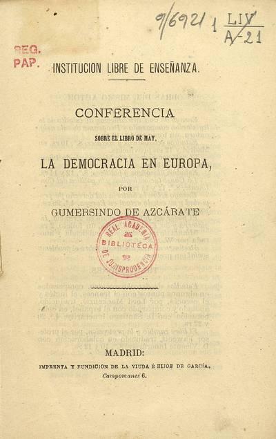 Conferencia sobre el libro de May la democracia en Europa